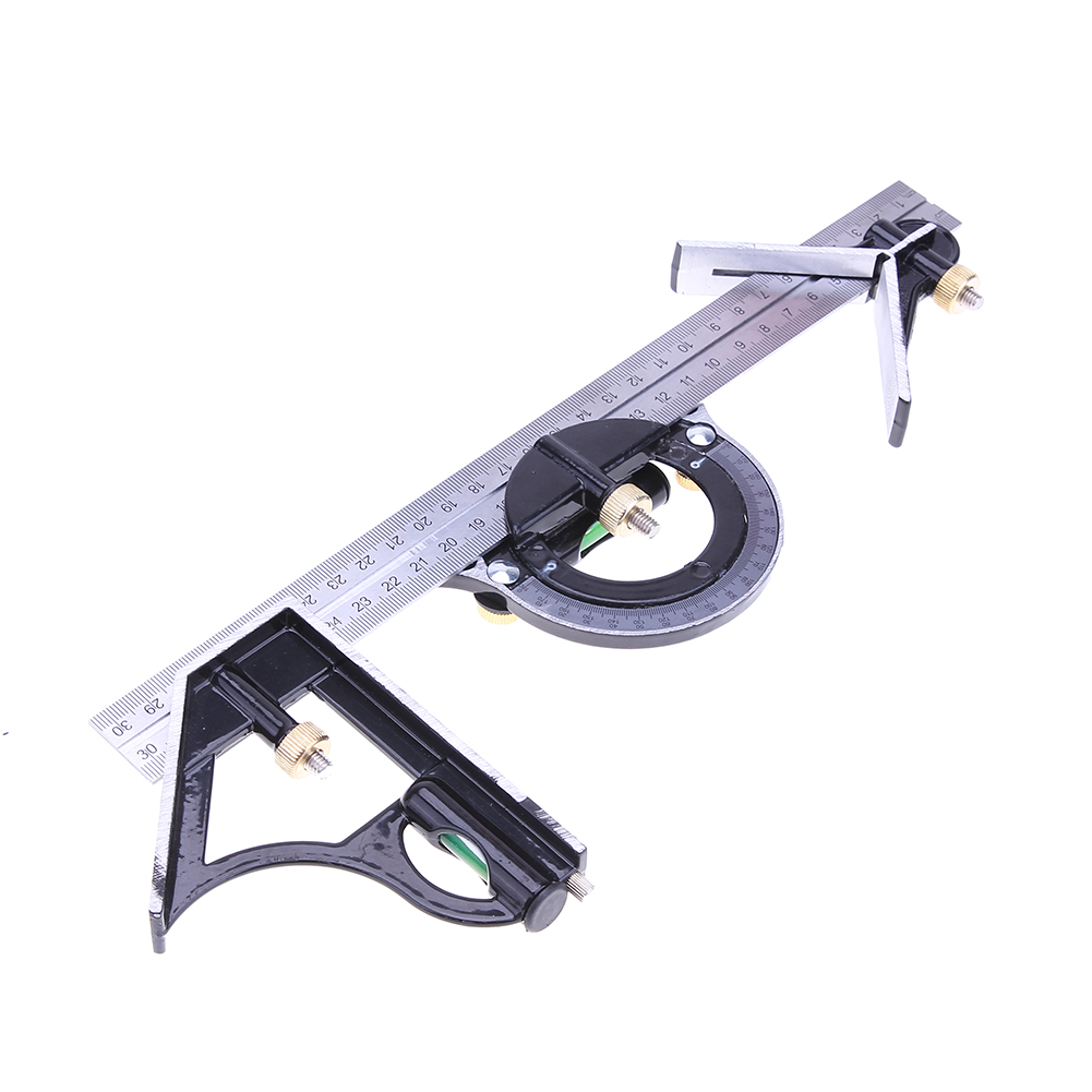 3 in 1 Adjustable Combination Square Angle Ruler Set Right Angle Finder Protractor Spirit Level Ruler