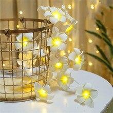 На батарейках ручной работы светодиодный белый/розовый/фиолетовый Французский цветок китайские фонарики, веревка Плюмерия, свадьба, часть, Рождество, декор для спальни