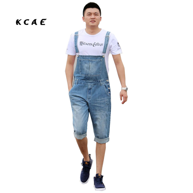 Summer Men's Casual Loose Denim jumpsuits overalls bib pants light blue cargo pants plus size gardener capris size XS-5XL