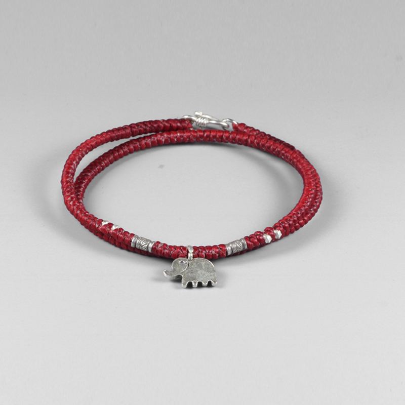 Handmade Braided Rope Bracelet For Women Double Layers 925 Sterling Silver Elephant Lucky Charm Red Rope Chain Buddhism Jewelry s925 sterling silver bell lucky red rope bracelet handmade bracelets wax string amulet jewelry 1383
