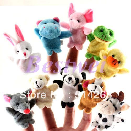 Educational toys baby mini plush finger puppet story telling toy
