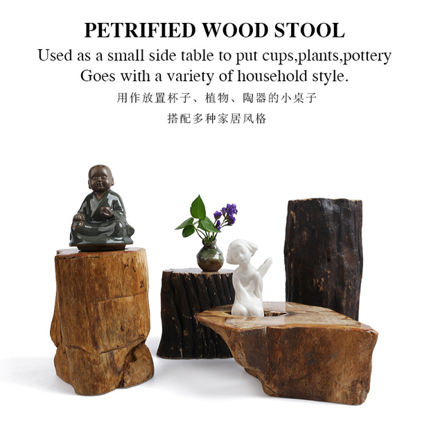 Petrified Wood Fossil Stone Stools Side Table Retro And Nostalgic Old  Furniture Living Room Stool End