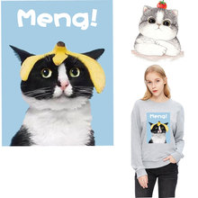 funny cartoon cat ironing stikers patches for clothing heat transfers T-shirt hoodie diy parches termoadhesivos ropa