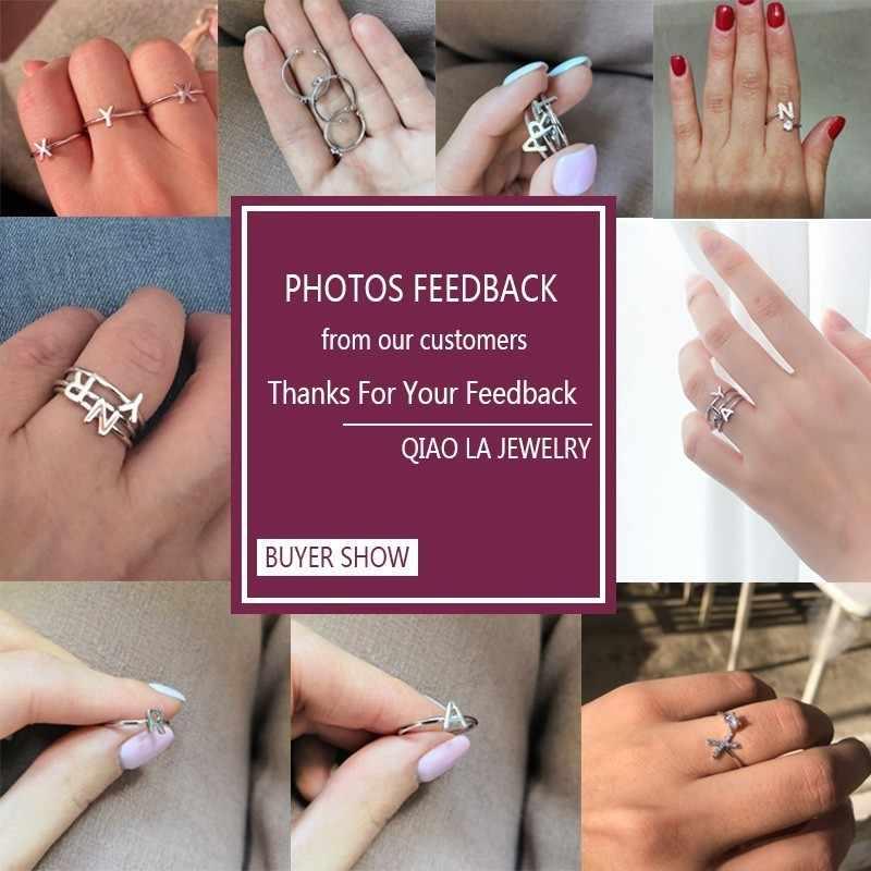 Минимализм, A-Z, начальное кольцо, серебряное, с буквами, регулируемые кольца для женщин, девушек, на день рождения, пара влюбленных, кольцо, стразы, ювелирное изделие