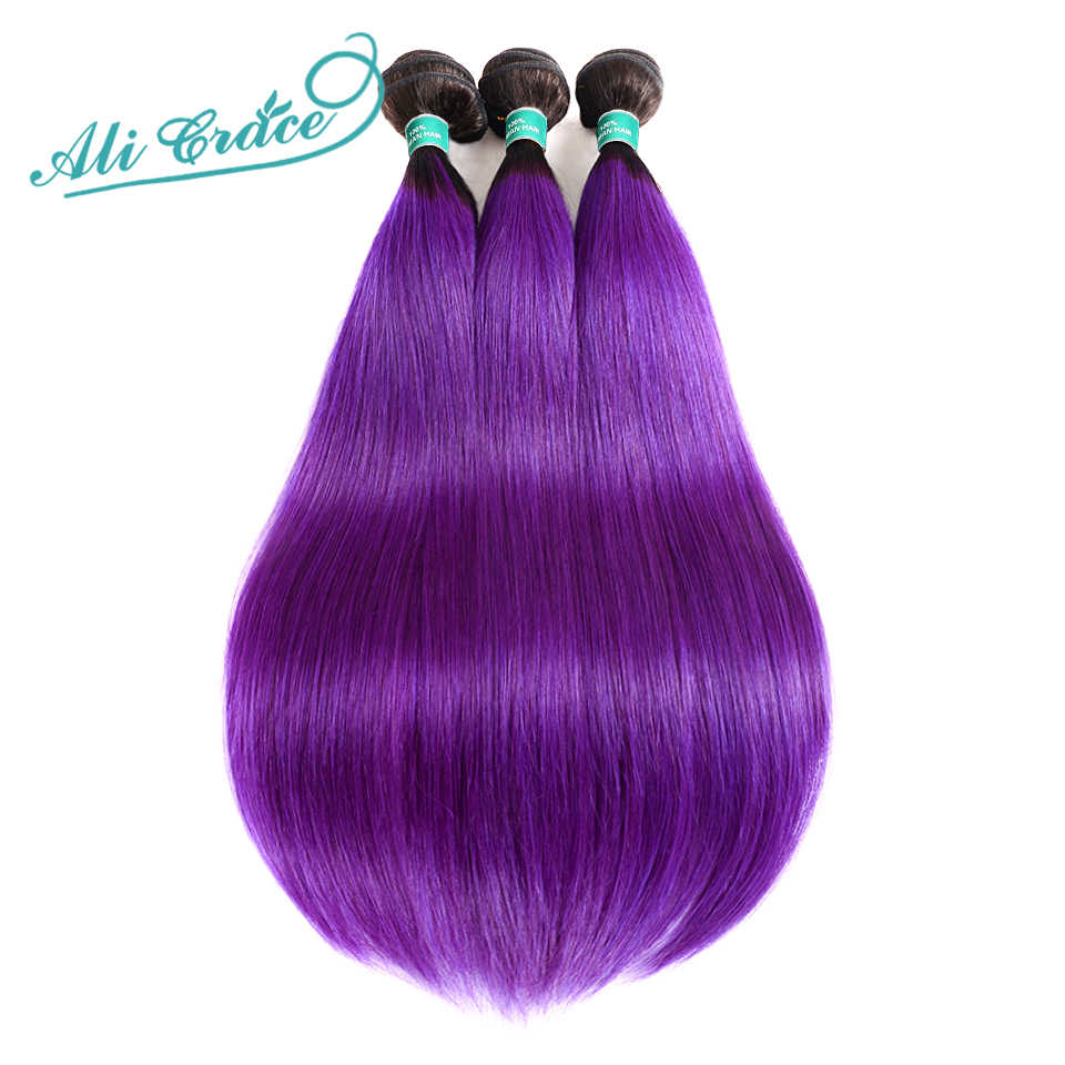 ALI GRACE Hair Pre-Colored Human Hair Brazilian Straight Hair Weave 3 Bundles Deal 1B Purple Color Ombre Remy Hair Extensions