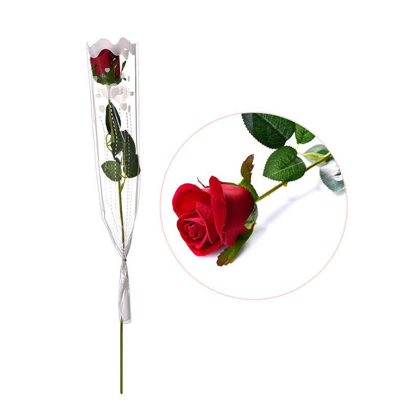 Presente do Dia dos namorados Para Os Amantes de Rosa Vermelha flor de Seda Flores Artificiais Falso Folha Europeia Casamento Casa Decoração Do Partido