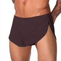 Fashion Men Novelty Ice Silk Boxer Shorts Two Side Open Design New Style Smooth Male Panties
