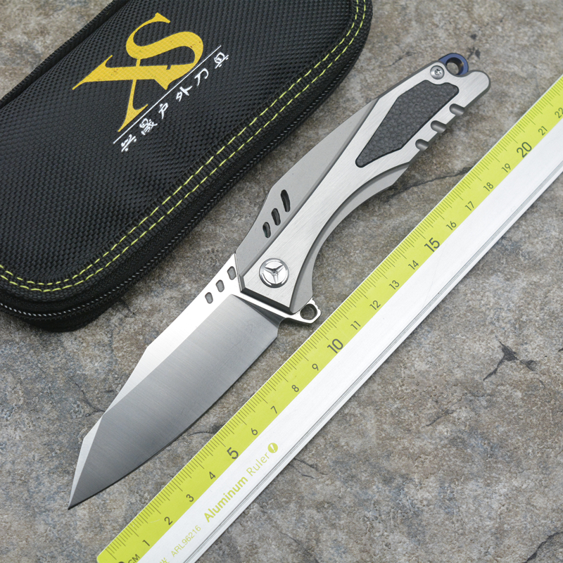 XS-TW23 High quality D2 blade Titanium handle Flipper folding knife Outdoor camping hunting pocket fruit knives EDC tools