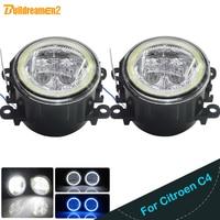 Buildreamen2 For Citroen C4 Car Accessories 4000LM LED Light H11 Fog Light Angel Eye DRL Daytime Running Light 12V High Bright