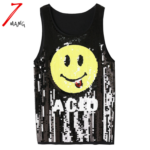 2017 summer women harajuku cute smile face sequins street tank top stretchy punk tank top pink black