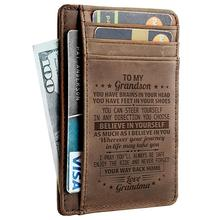 leather engraved card wallet for son custom bi fold holder slim with box