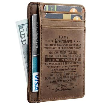leather engraved card wallet for son custom bi fold card holder slim wallet leather with box
