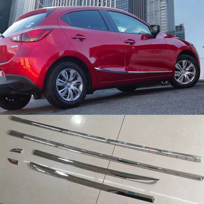 MONTFORD Pour Mazda 2 Demio 2015 2016 Auto ABS Chrome Porte latérale Du Corps De Moulage Seuil Garniture Autocollant Décoration 6 Pcs/ensemble De Voiture style