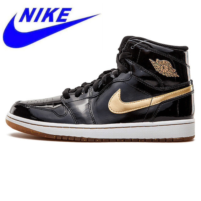 cd40fd6bd0f New Arrival Nike Air Jordan1 Retro High OG Joe 1 Black Gold Patent Leather  Men s Basketball Shoes