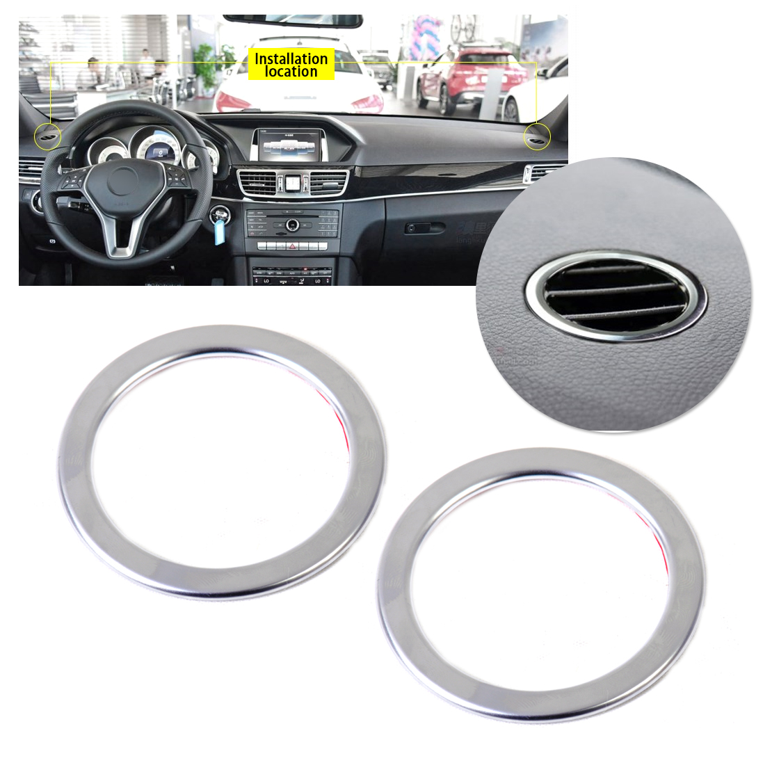 DWCX Car Styling 2pcs Chrome Interior AC Air Vent Outlet Trim Cover Ring for <font><b>Mercedes</b></font> Benz <font><b>W246</b></font> <font><b>B180</b></font> B200 2012 2013 2014 2015 image