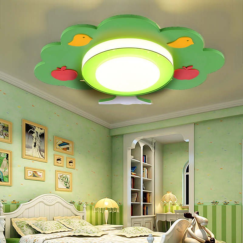 Детская комната потолочный светильник спальня Уход за глазами детский сад мультфильм зеленое дерево теплые мальчики и девочки комнаты лам...
