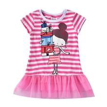Girls Short Sleeve Lace Dress Summer Girls Baby Wear New Print Girl Figure Short Sleeve Dress for Girls Casual Crew Dress H7107 lace panel sleeve girl print tee