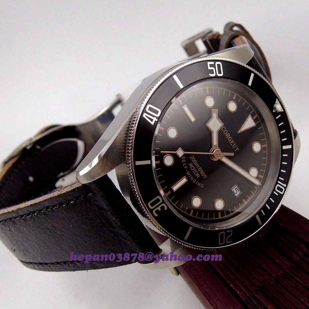 41mm Corgeut montre cadran noir jante dorée mains insert noir Lunette verre saphir MIYOTA mouvement Automatique montre homme p137