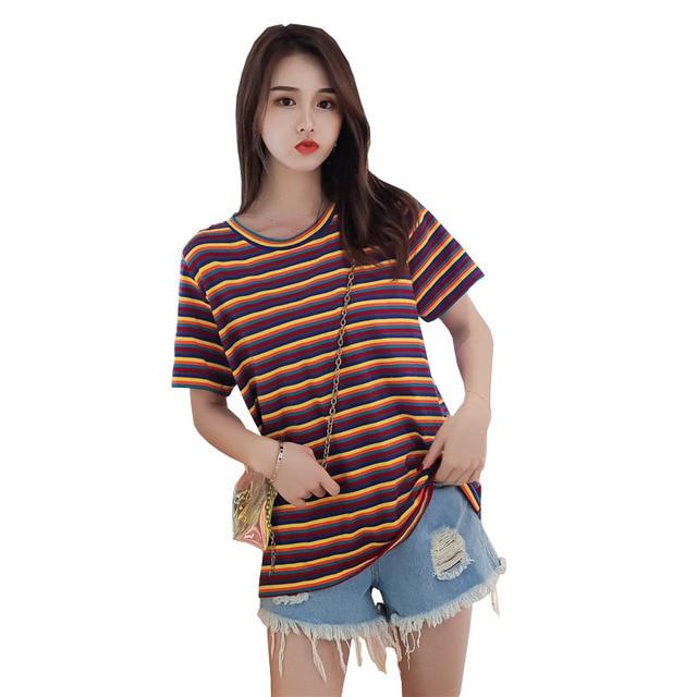 YZ Oversize T Shirt Women Striped Tops Harajuku Tshirt Ladies 2019 Summer Big Size XL-4XL Short Sleeve T-shirt camiseta feminina