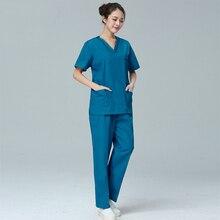 7450208f7c1 Unisex Doctor Nurse Clothing Hospital Medical Work Uniforms Scrubs Sets  Short Sleeve V Neck Tops Pants Farmacia Medico Overalls