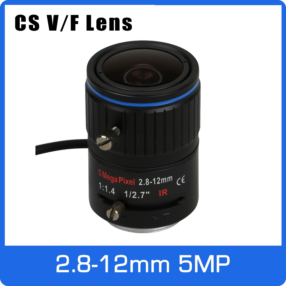 5Megapixel DC AUTO IRIS Varifocal CCTV Lens 2.8-12mm CS Mount For 1080P 4MP 5MP Box Camera AHD/IP Camera Free Shipping 8megapixel varifocal cctv 4k lens 1 1 8 inch 3 6 10mm cs mount dc iris for sony imx178 imx274 box camera 4k camera free shipping