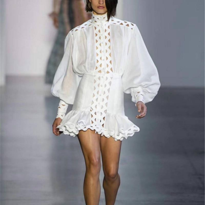 edb82bed0c New Runway Women Cotton Dress Sexy Hollow Out Stand Collar Designer Slim Ruffle  Dresses Party Lantern
