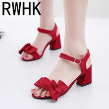 RWHK 2019 summer new wear thick heels womens fashion wild bow word buckle girl small fresh sandals B407