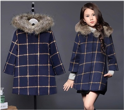 2016 girl light grey/dark grey woolen coat winter warm outerwear grid jacket fall/winter overcoat plaid two colors