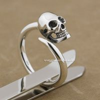 Cool 925 Sterling Silver Skull Mens Biker Ring 8Y015 US Size 7 9 Free Size