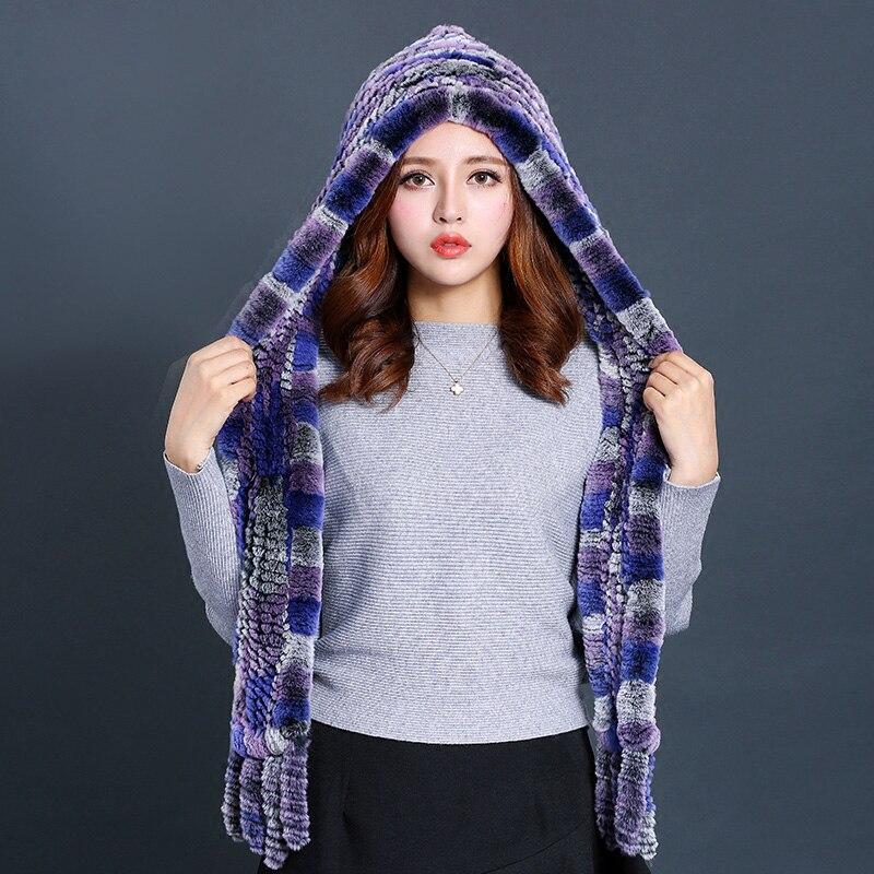 [Rancyword] bufandas de Invierno para mujer, nueva bufanda de piel de lujo, gorro de piel de conejo Real para mujer bufanda con capucha RC1356 - 4