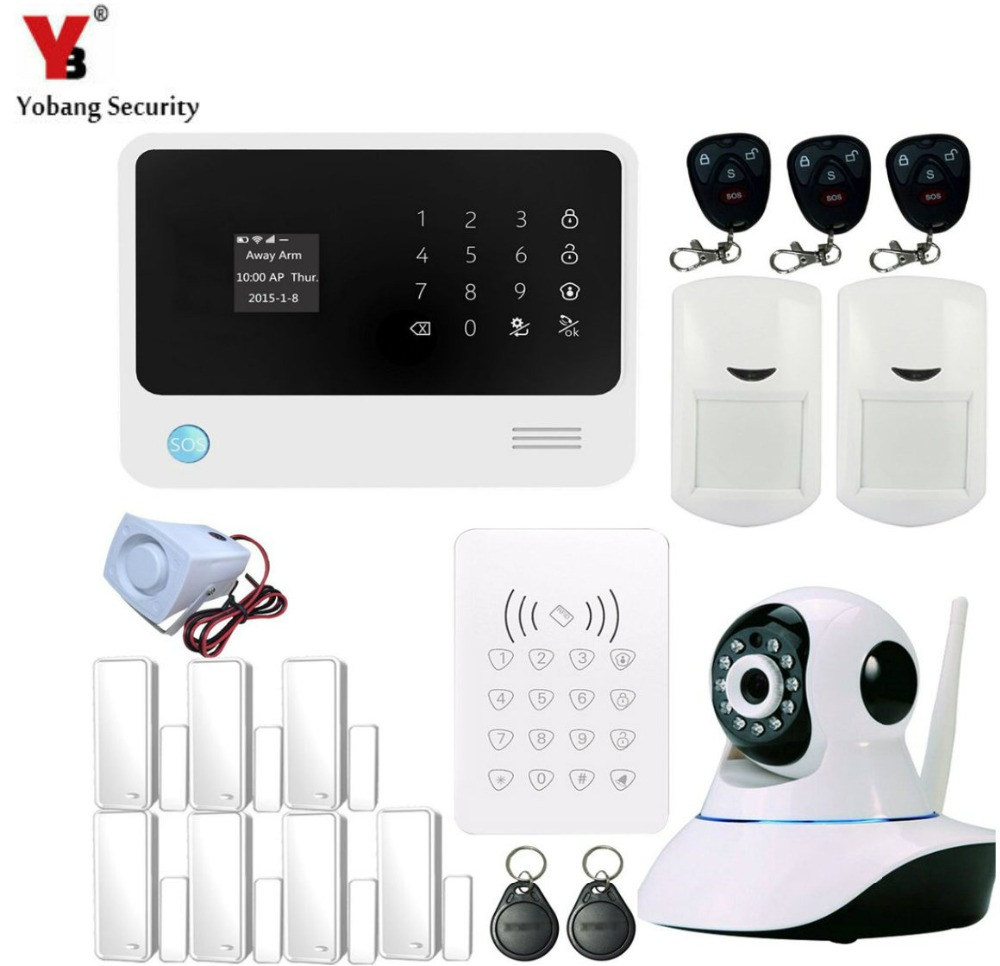 YobangSecurity Android IOS APP G90B GSM WIFI Burglar Alarm System Security Home Wireless PIR/Door Sensor RFID Keypad IP Camera yobangsecurity wifi alarm system wireless flash siren gsm burglar alarm g90b touch keypad app pir detector door gap sensor