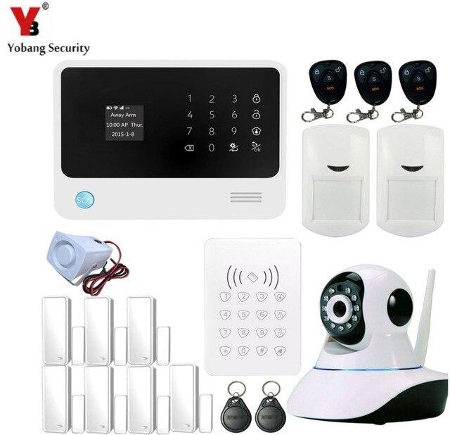 Best Price YobangSecurity Android IOS APP G90B GSM WIFI Burglar Alarm System Security Home Wireless PIR/Door Sensor RFID Keypad IP Camera