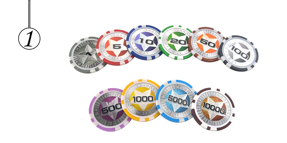 Easytoday 25Pcsset Plastic Poker Chips Set Clay Baccarat High Texas Hold'em Standard Entertainment Games Chips  (1)