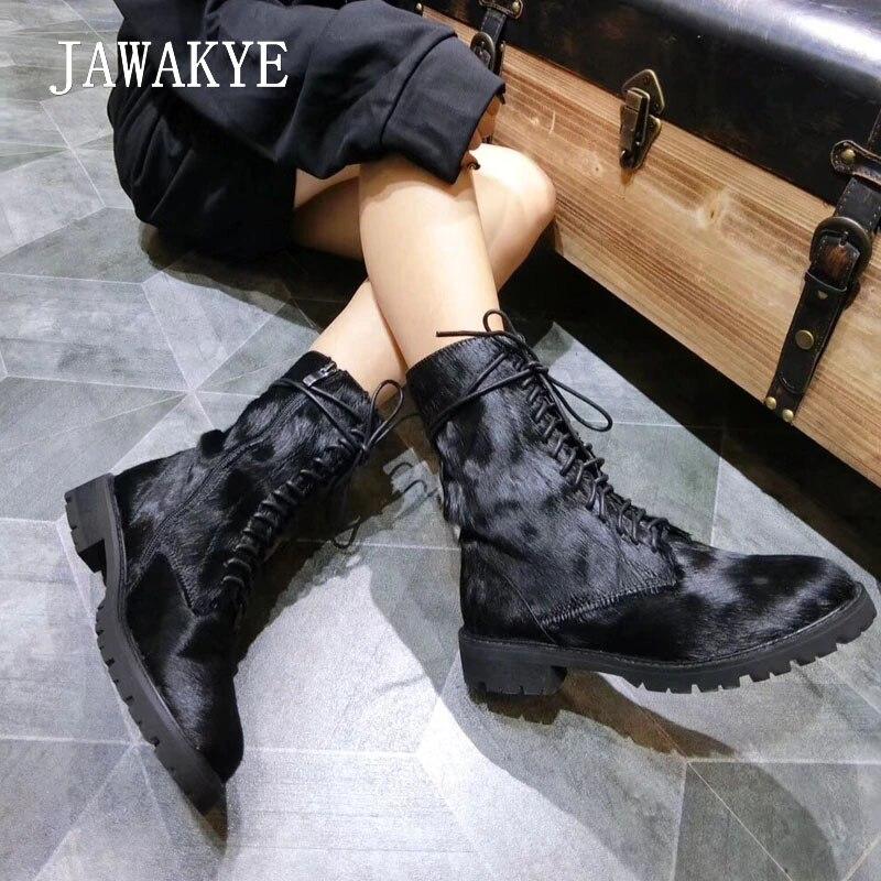 Martin Inside black Chaussures Black Bottes Lacent Sexy Bout Jawakye Botas Crin Largas Plush Femmes Rond Haute Qualité D'hiver Noir Leather Plat Inside Cheville Ht4w6R