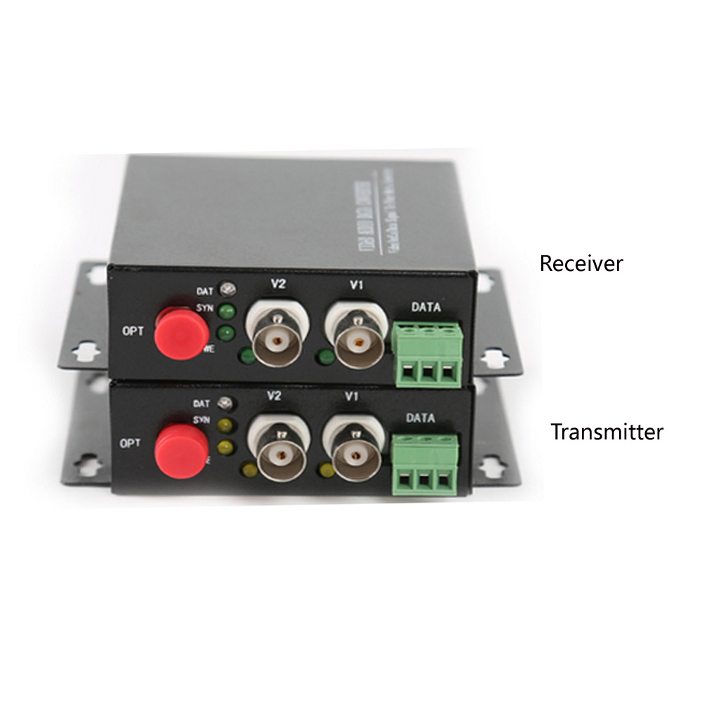 2 CH Video Fiber Optical Media Converters -2 BNC Transmitter Receiver RS485 Data Single mode 20Km For CCTV Surveillance system