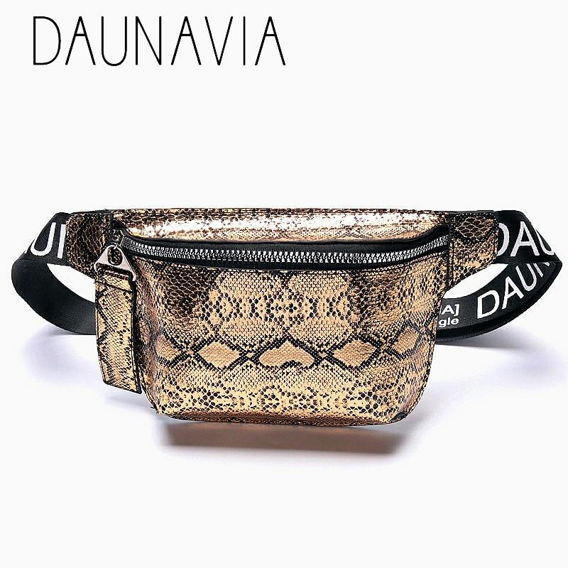 Daunavia Serpentin Taille Tasche Pu Leder Frauen Designer Pack Mode Gürtel Tasche Weibliche Mini Messenger Münze Pack Crossbody Handtasche Herausragende Eigenschaften Geldbörsen & Halter