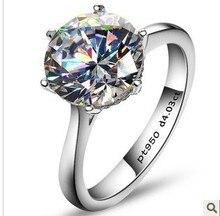 Горячая Продажа 4 карат Имитация алмазный прополка кольца, женщины кольцо, стерлингового серебра обручальные кольца, Бесплатная Доставка!(China (Mainland))