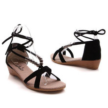 new arrival 2016 women's summer sandals low heel casual fashion soft slippers Lace-Up