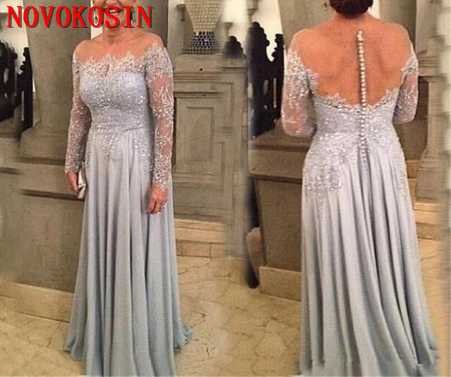 Mother of the Bride Evening Dress Plus Size 2019 Vestidos De Noite Longos Sexy Backless See Through Prom Dress with Long Sleeves