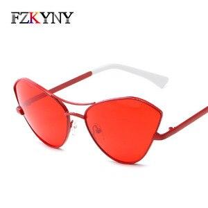 FZKYNY Newest Cat Eye Sunglasess Women Brand Designer Ladies Metal Frame Sunglasses Fashion Personality Red Lens Eyewear UV400(China)