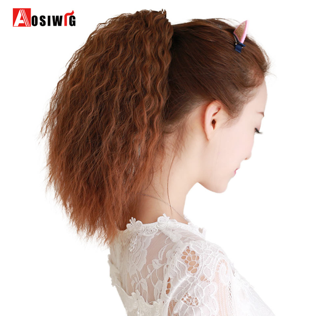 Long Curly Hair Extensions Claw Clip In Ponytail Heat Resistant Fake