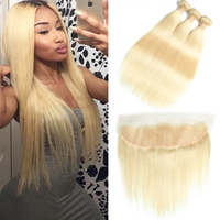 Beaudiva 613 Bundles With Frontal Brazilian Straight Human Hair Blonde Bundles With Closure Lace Frontal Closure With Bundles