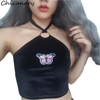 Chicanary Summer Women Sexy Halter Cropped Camisole Butterfly Applique Black Sleeveless Crop Top Feminino Bralette Fashion