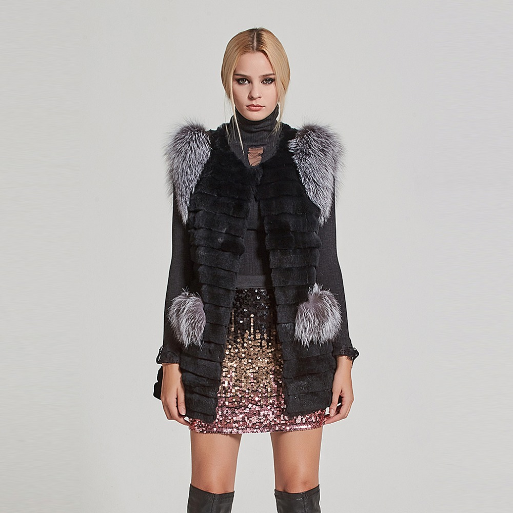 Fur Story Women Real Fur Vest Real Rabbit Fur Vest with Real Sliver fox fur Pockets