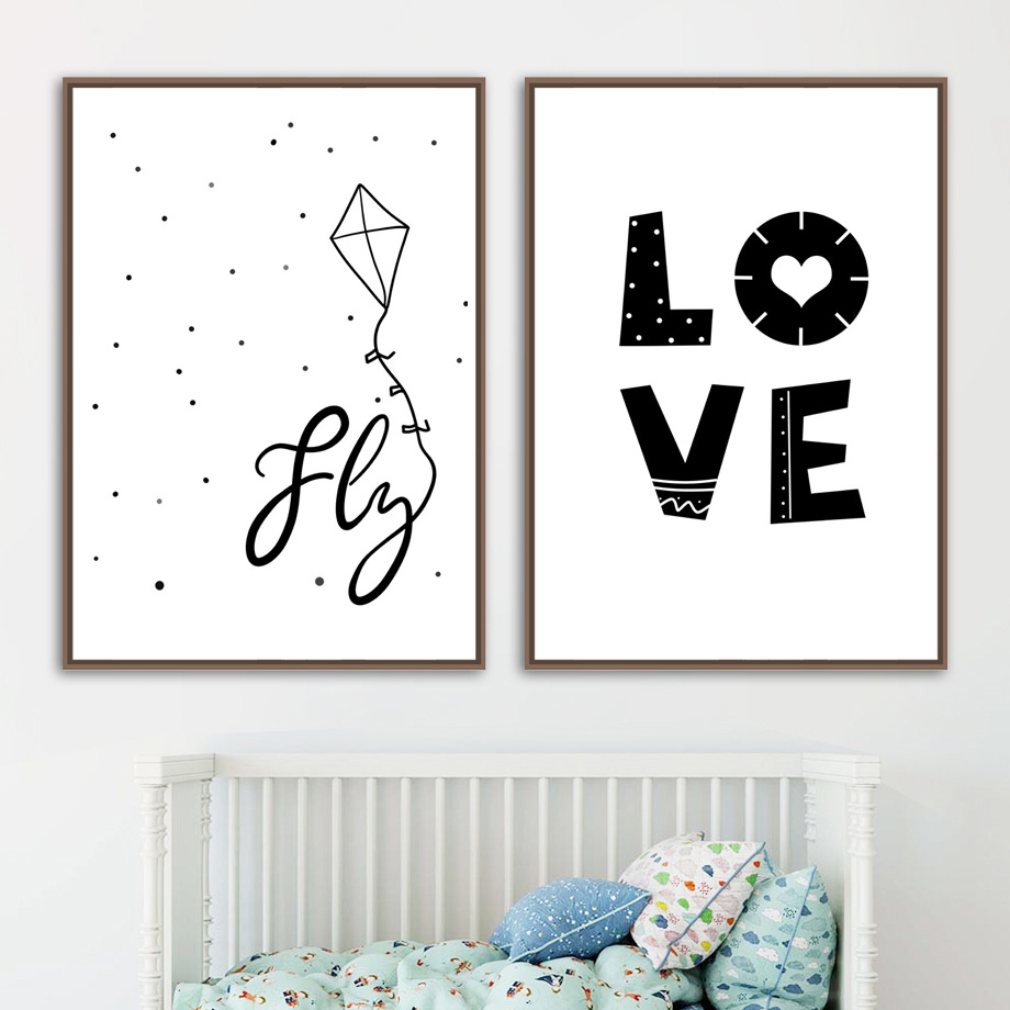 Hot Sale Fly Kite Love Quotes Funny Poster Wall Art Canvas Painting