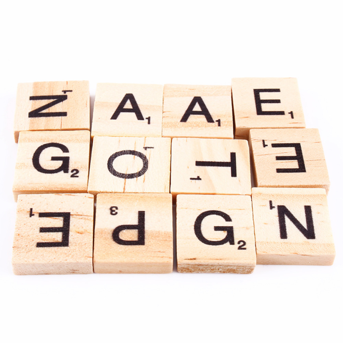 100pcs Wooden Alphabet Scrabble Tiles Black Letters & Numbers For Crafts Wood