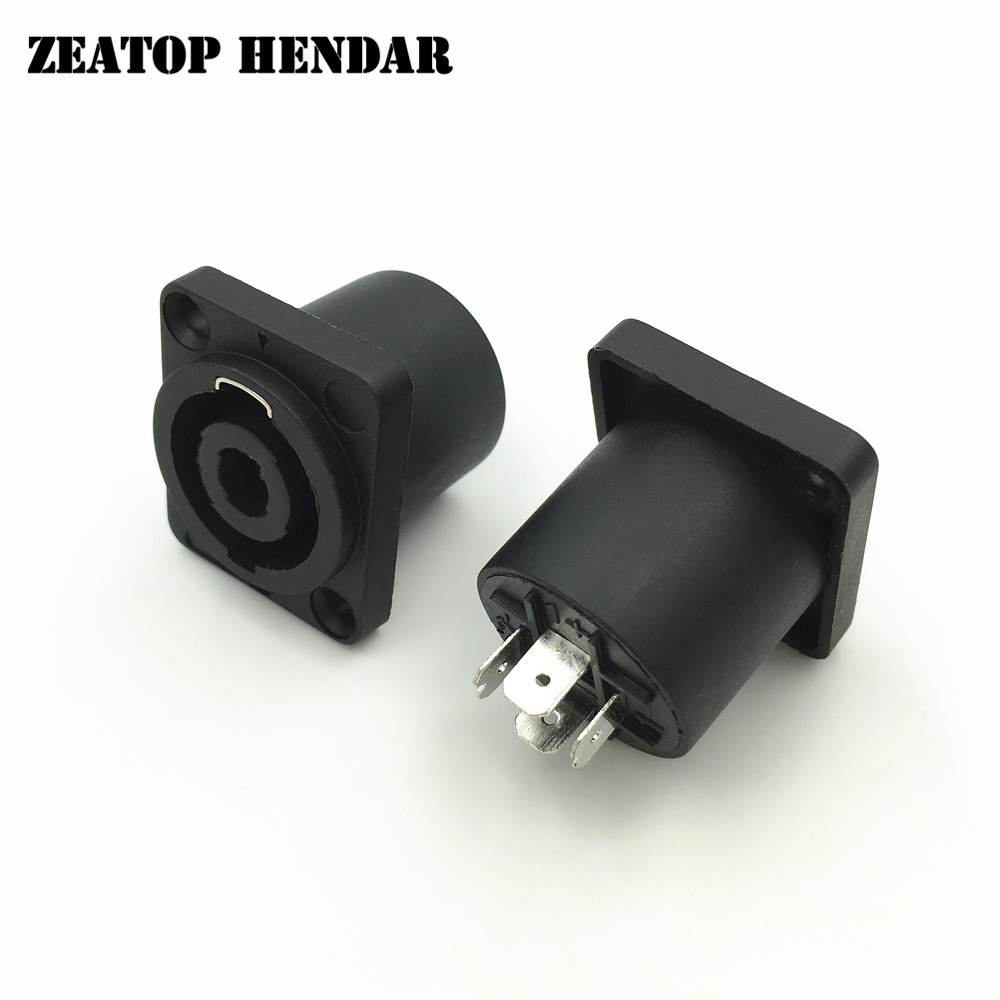 50Pcs Square Powercon Socket Black Speakon Adapter 4 Pin Female Jack Compatible Audio Cable Connector