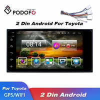 Podofo Android 2 Din Car radio Multimedia Video Player Universal 2din auto Stereo Audio GPS Navigation Bluetooth WIFI For Toyota