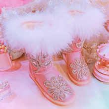 pink fox fur decoration boots girls cow suede leather warm luxury crystal thailand style shoes women 2018 winter newest