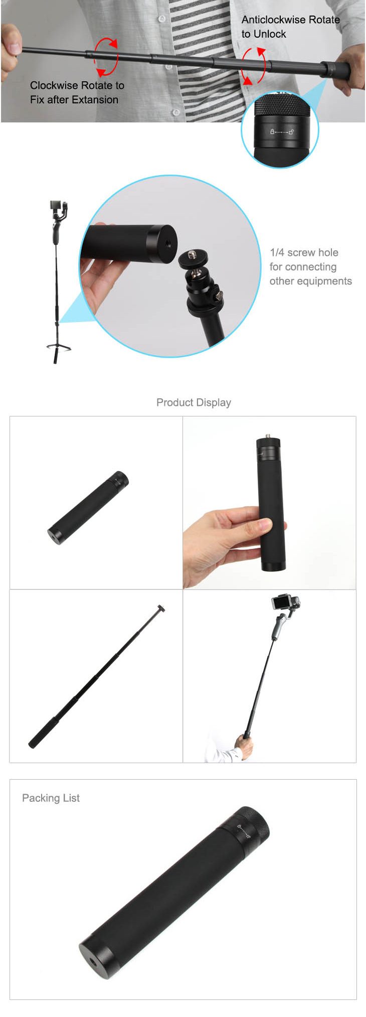 Extension Stick Rod pole Scalable Holder for DJI OSMO Mobile 2/zhiyun smooth Q 4 Handheld Smartphone Gimbal Accessories 5